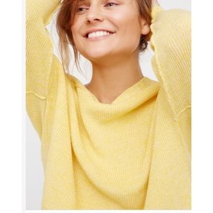 Free People Yellow  Ribbed Pullover  Knit Sz L